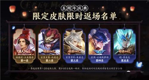 王者荣耀2021年春节返场皮肤,2021王者荣耀限定皮肤返场