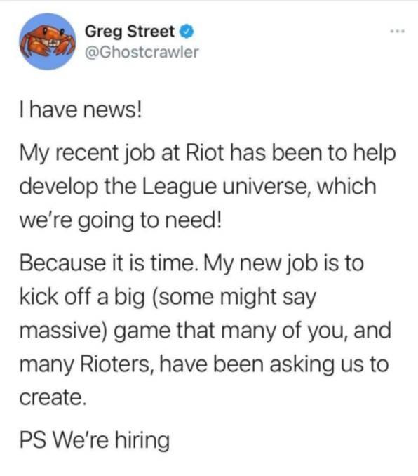 Riot设计师透露将以英雄联盟宇宙为背景制作新的MMO游戏