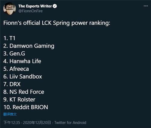前ESPN记者预测新赛季LCK排名 T1稳坐第一s10冠军DWG第二