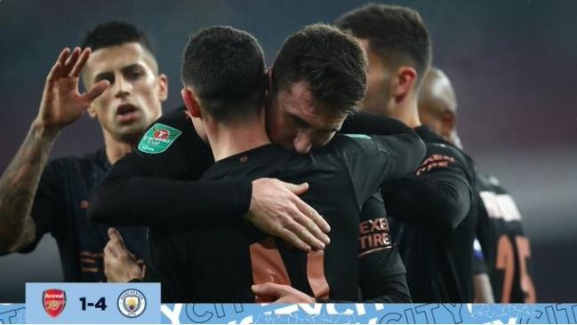 曼城4-1大胜阿森纳 热苏斯马赫雷斯建功