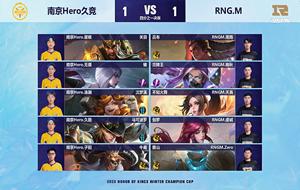 王者荣耀RNG.M对阵Hero第三局 冬季杯四分之一决赛结果
